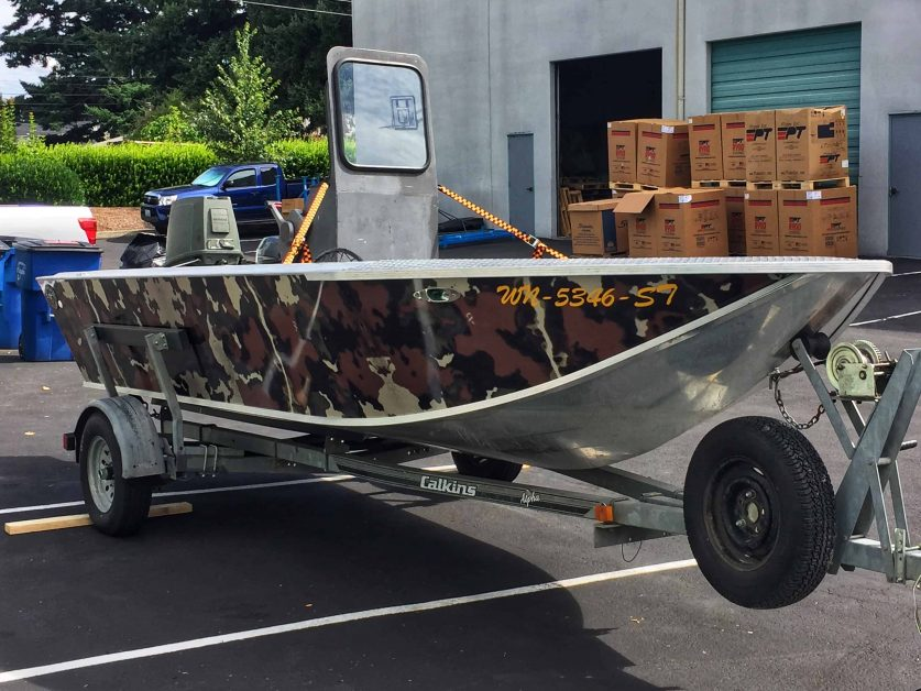 Boat with custom camo wrap