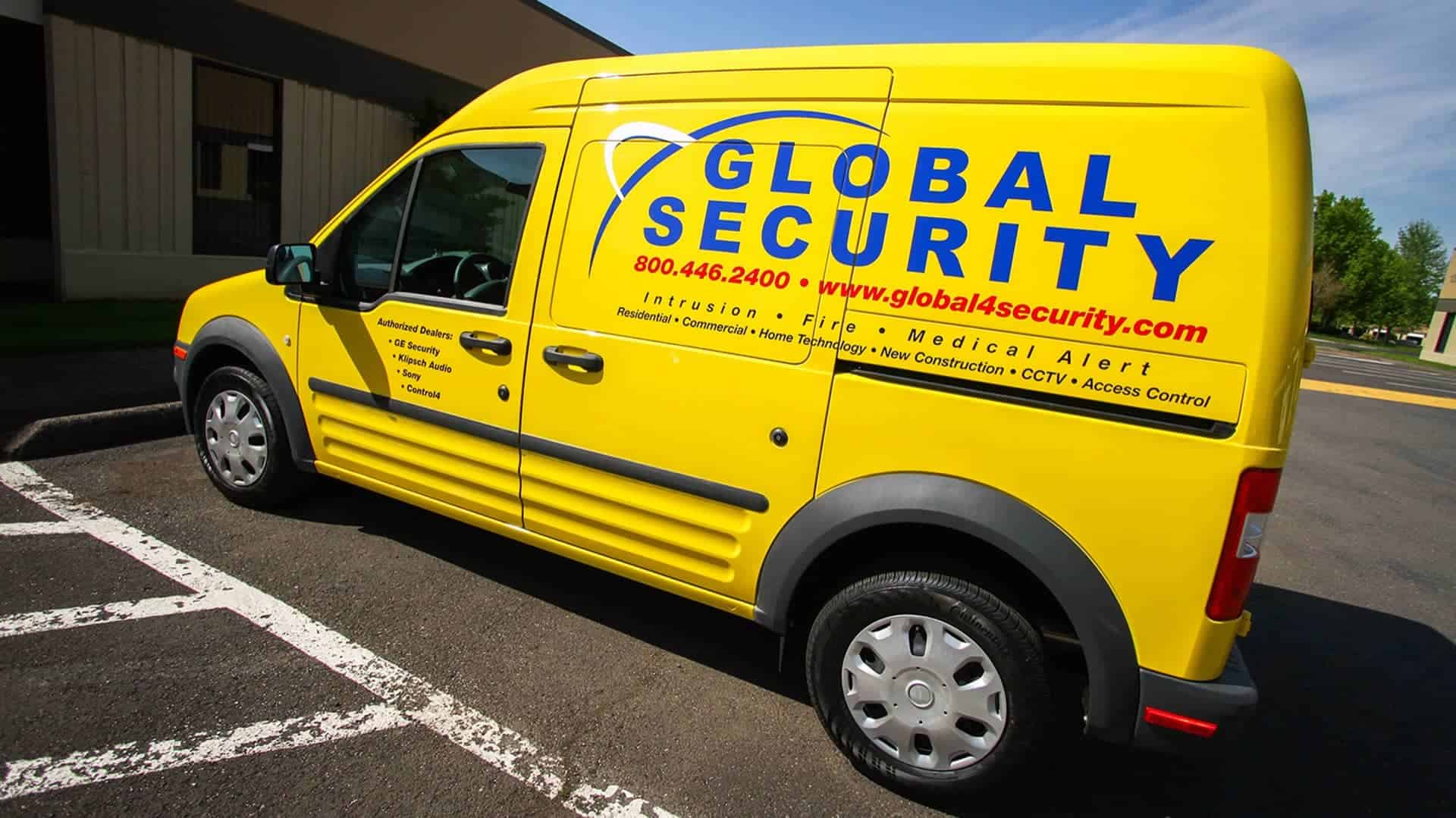 Fleet Graphics for Global Security on a Ford Transit Connect