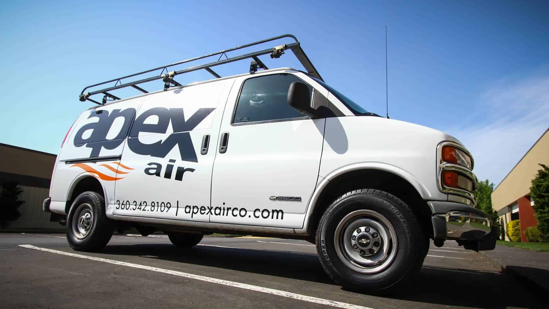 Fleet Graphics – lettering for Apex Air on a Chevy Fleet Van