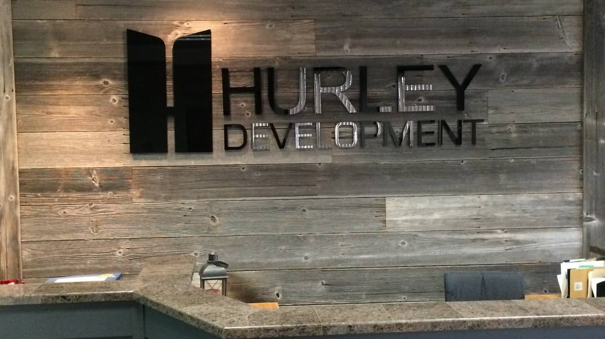 Hurley lobby sign acrylic on wood