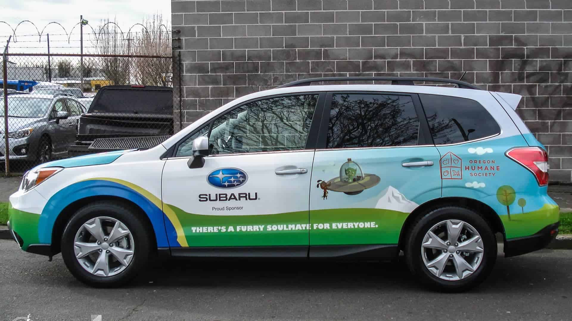 Partial wrap on a subaru forester for Oregon Humane Society
