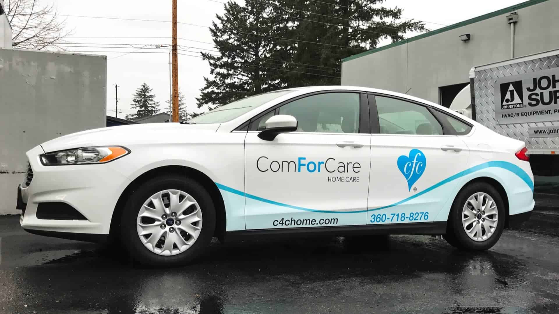 Partial Wrap for ComforCare on a 2016 Ford Fusion