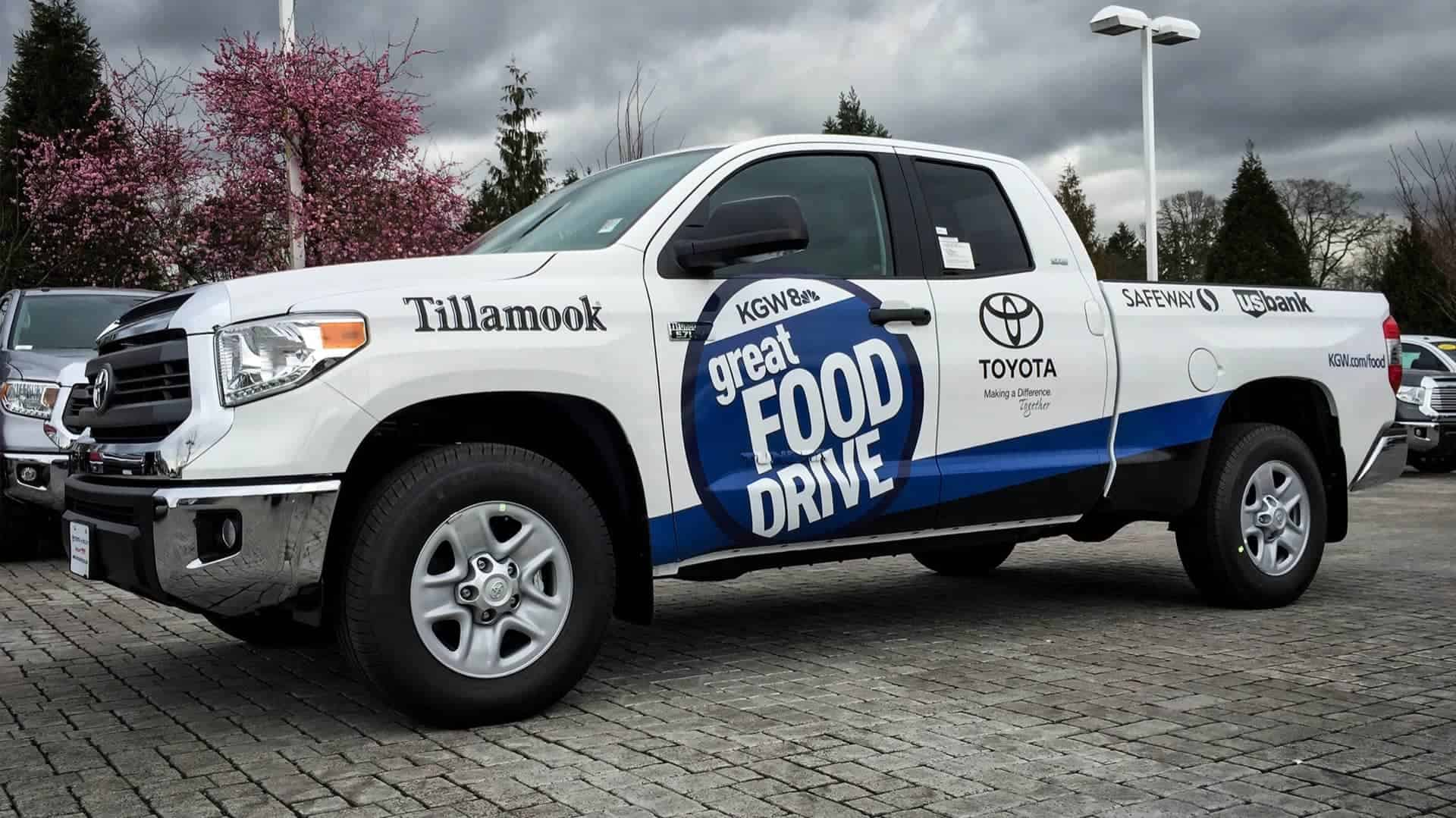 Partial Wrap on a 2016 Toyota Tundra for the KGW Food Drive