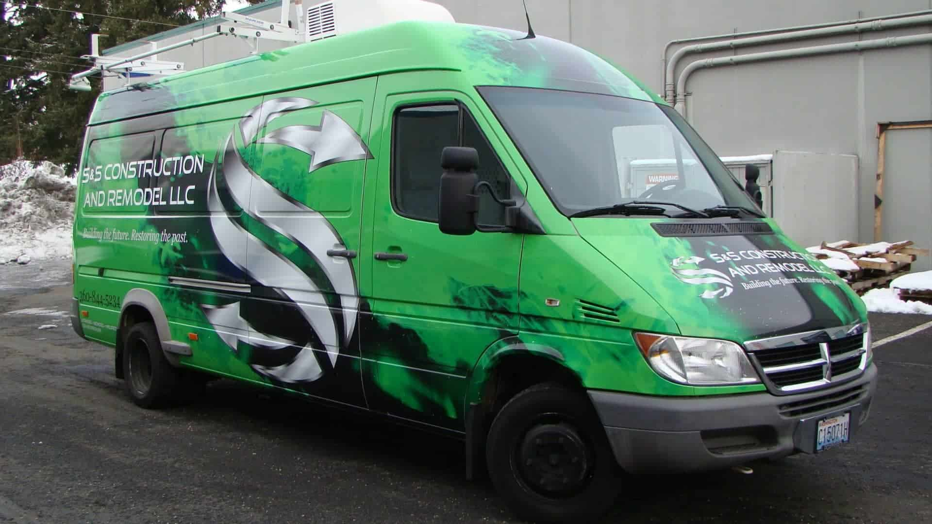 Full wrap on an Ext. Dodge Sprinter for S&S Construction