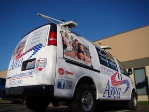 Vehicle wrap on a local van