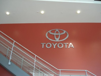 Toyota Metallic Lobby Sign Dimensional Signs