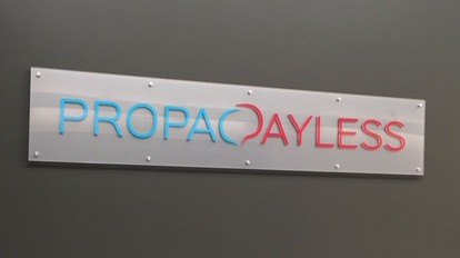 Acrylic lobby sign with standoffs